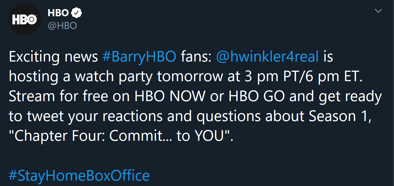 Screenshot_2020-04-15 HBO on Twitter Exciting news #BarryHBO fans hwinkler4real is hosting a watch party tomorrow at 3 pm P[...]