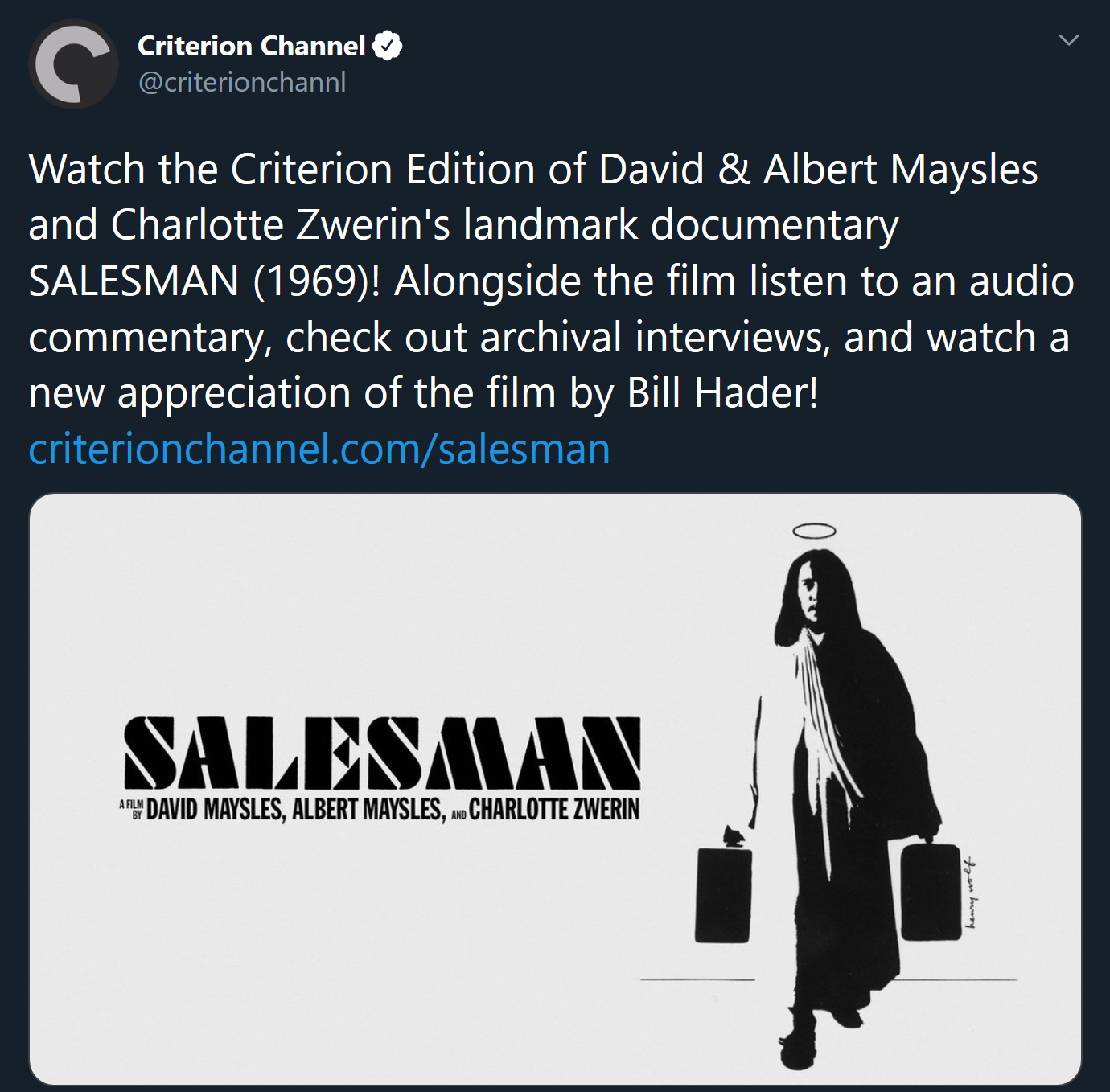 Screenshot_2020-04-20 Criterion Channel on Twitter Watch the Criterion Edition of David amp; Albert Maysles and Charlotte Z[...](1)